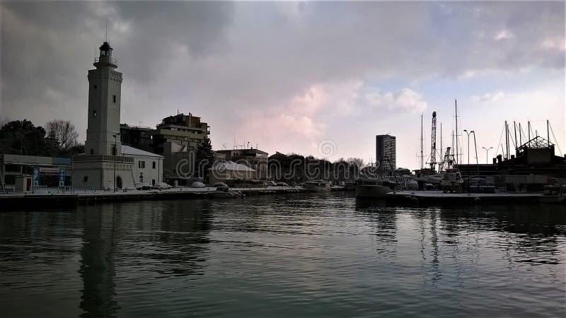 Winter Rimini`s Harbor stock images