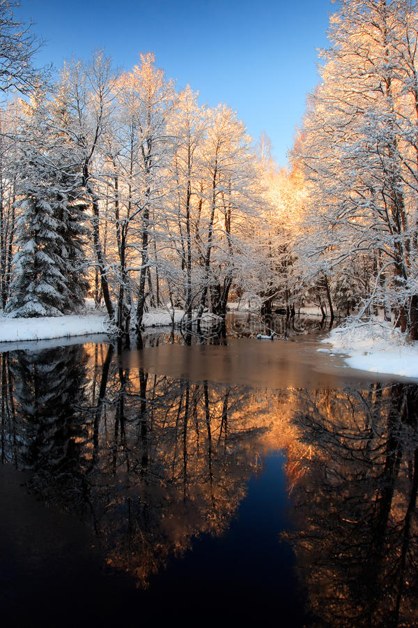 Free Winter River Golden Sunset Royalty Free Stock Images - 16075739