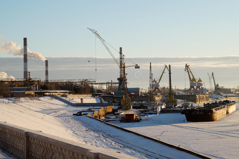 Winter in river port. stock photo