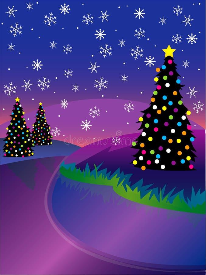 Download Winter river Scene stock vector. Illustration of purple - 1645798