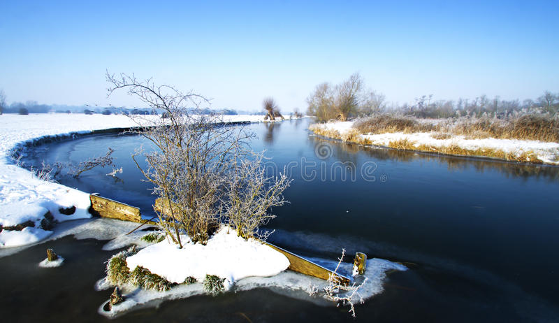Winter River scene stock photography