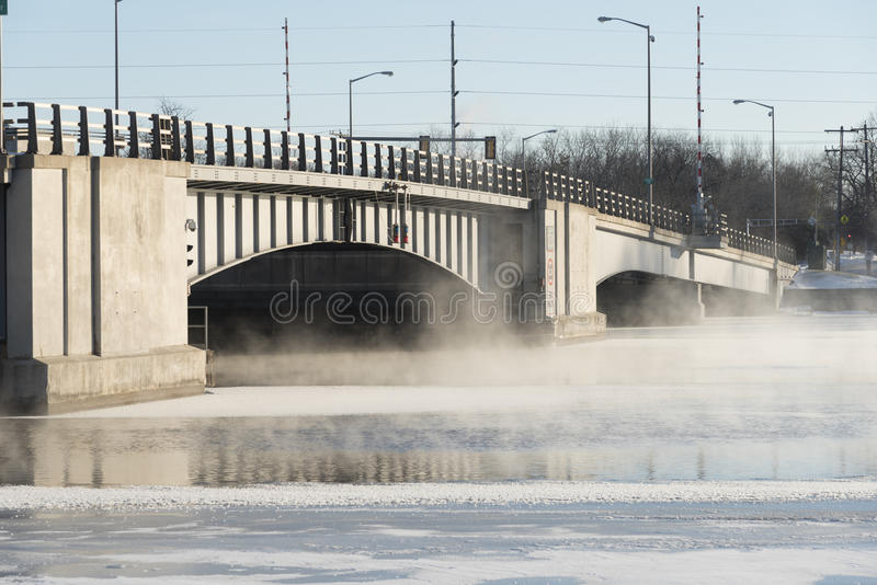 Winter River Steam stock photography
