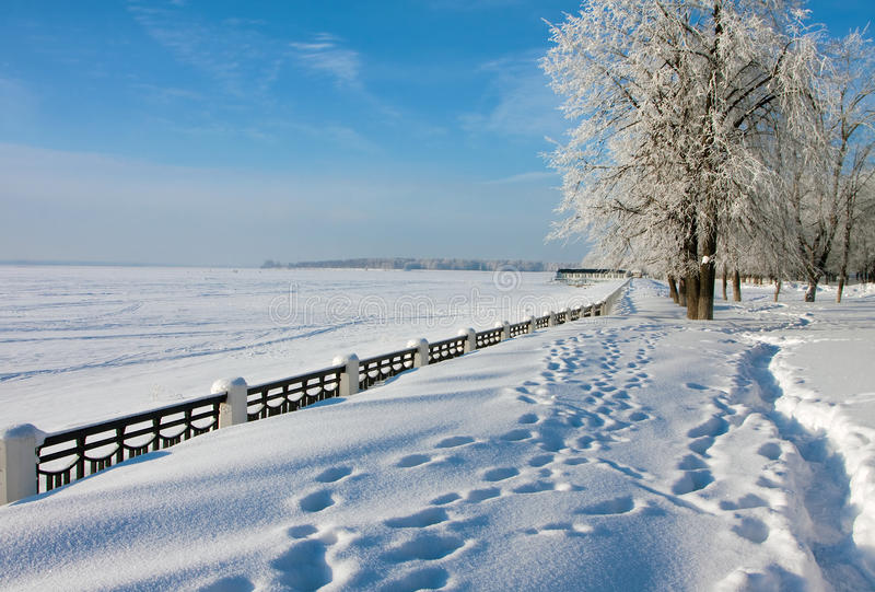 Winter river Volga royalty free stock image