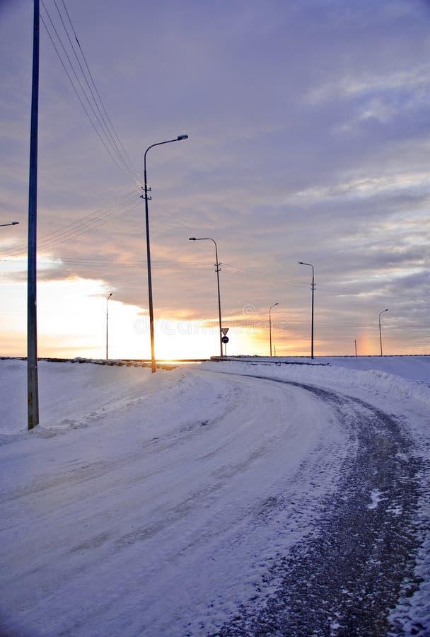 Download Winter road stock image. Image of sunrise, landscape - 12524953