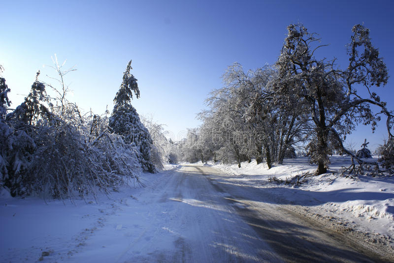 Download Winter road. stock image. Image of country, landscape - 12696369