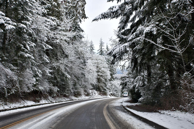 Winter road. In the mountains stock photography
