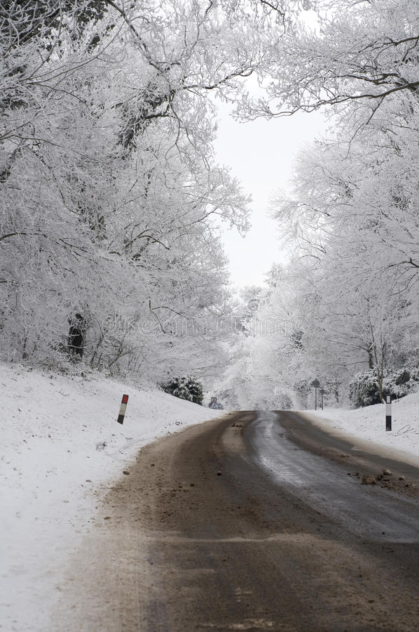 Winter road. A road during winter on a very cold day royalty free stock photo