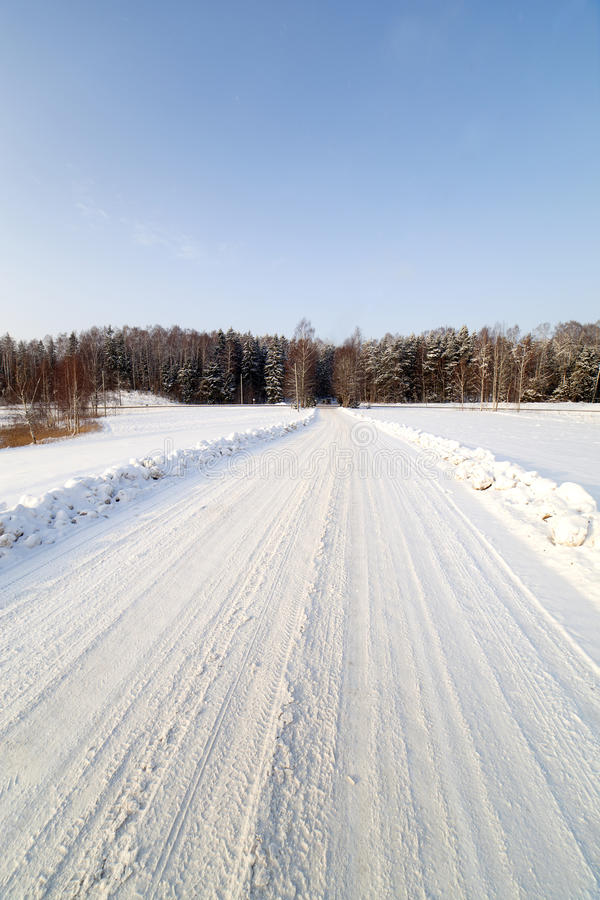 Download Winter road. stock image. Image of frost, land, snow - 23030033