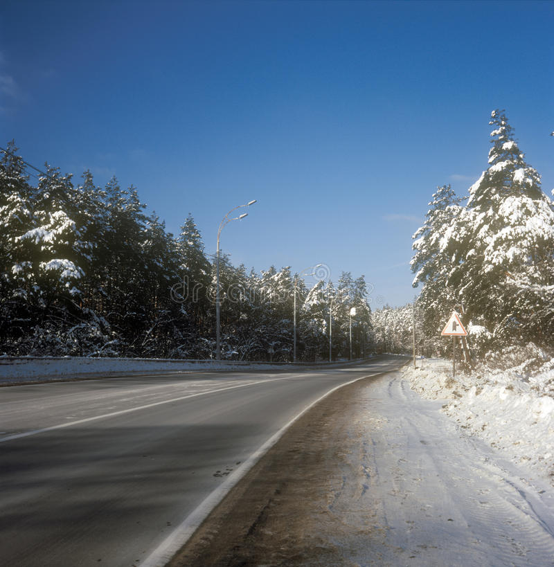 Download Winter road. stock image. Image of fir, scene, empty - 26787023