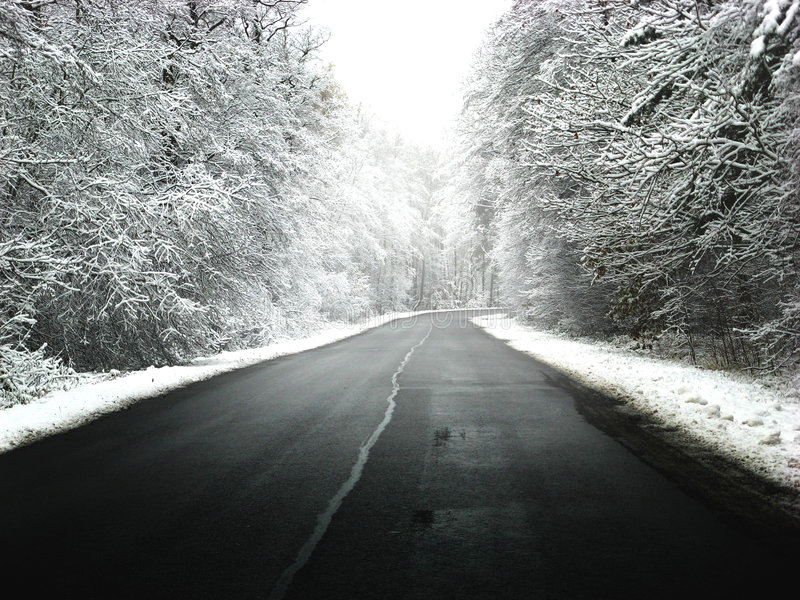 Winter road. With some fog, Lithuania stock photos