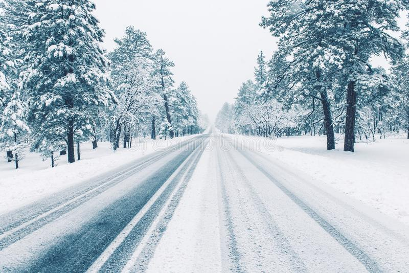 Winter Road Covered by Ice royalty free stock images