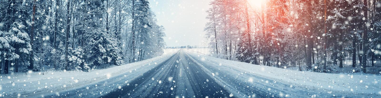 Winter road, covered with snow on sunny day royalty free stock image