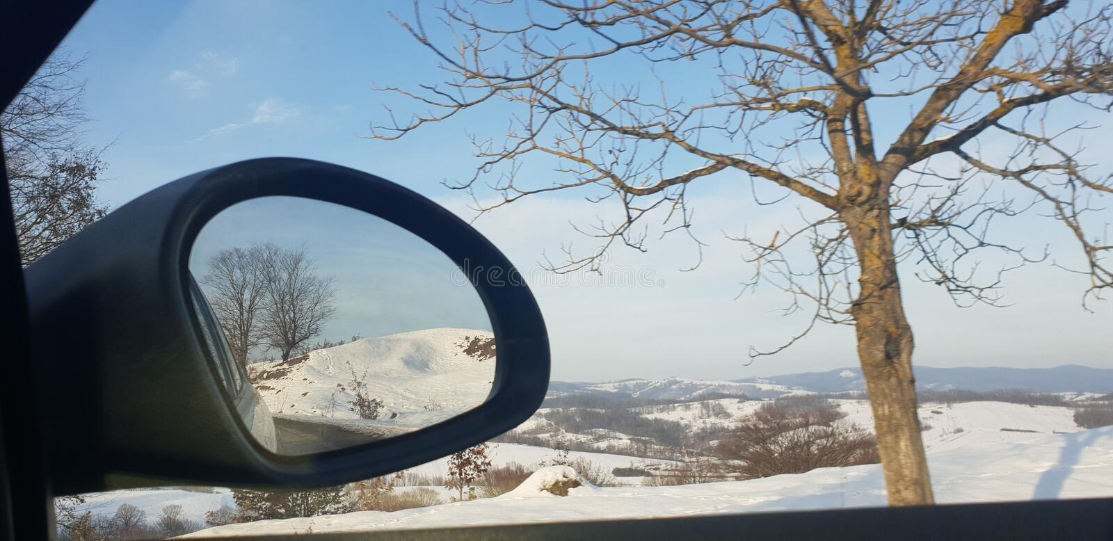 Winter road in early 2019 from cluj county to timisoara city highway  and rural road. Winter road early 2019 clun cluj county timisoara city highway rural royalty free stock images