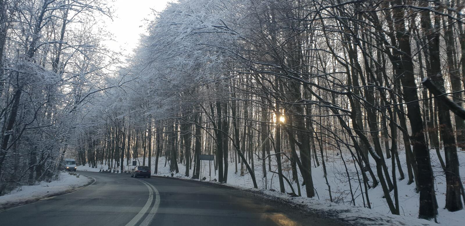 Winter road in early 2019 from cluj county to timisoara city highway  and rural road. Winter road early 2019 clun cluj county timisoara city highway rural stock photo