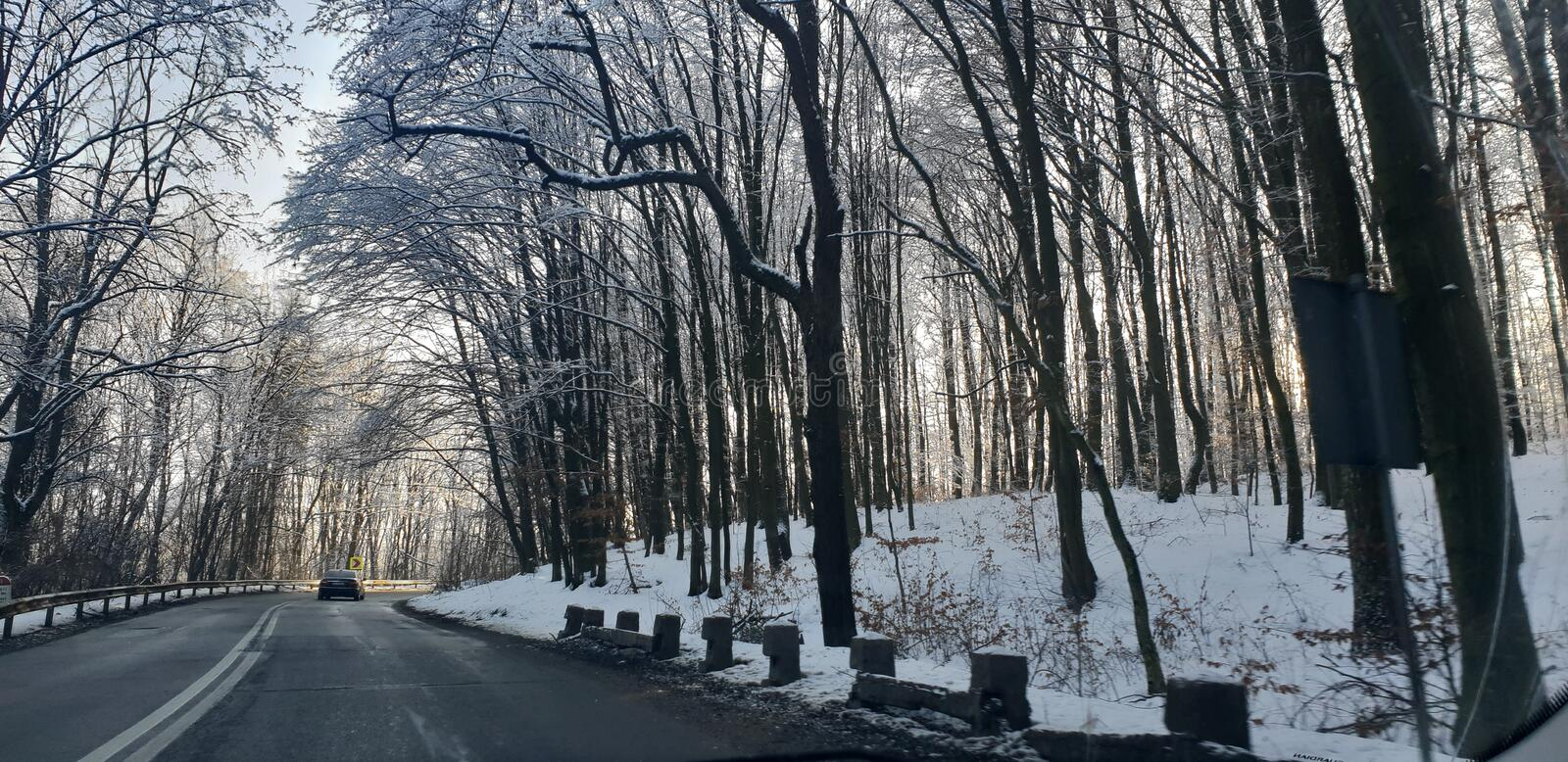 Winter road in early 2019 from cluj county to timisoara city highway  and rural road. Winter road early 2019 clun cluj county timisoara city highway rural royalty free stock image