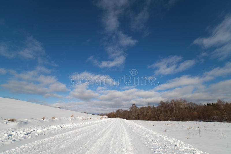 Winter Road In Latvia, Europe. Stock Photos