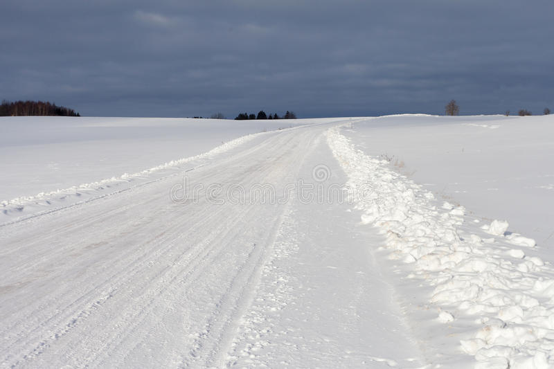 Winter Road In Latvia, Europe. Stock Photography