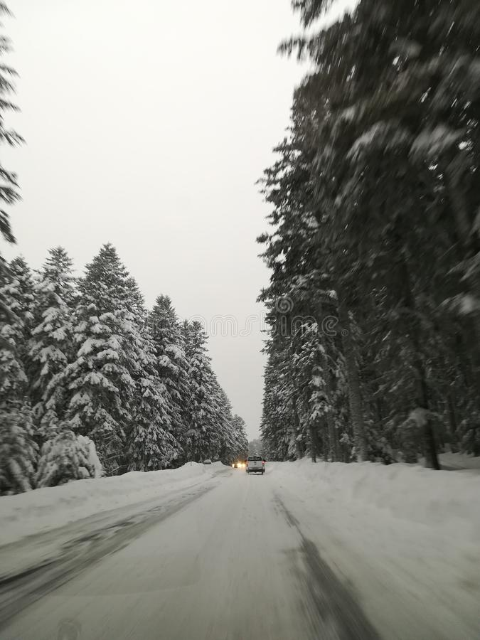 Winter road with no one else stock photography