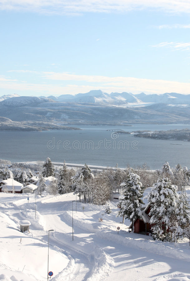 Winter road in Norway royalty free stock photo