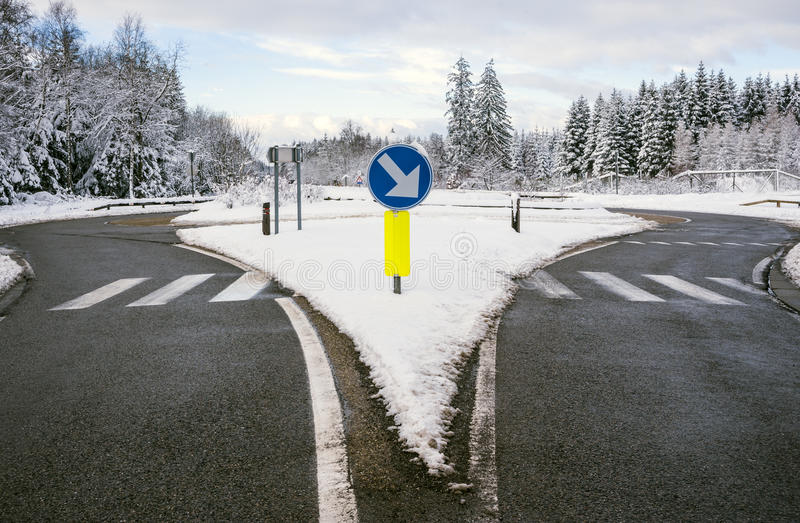 Winter road, roundabout stock photography