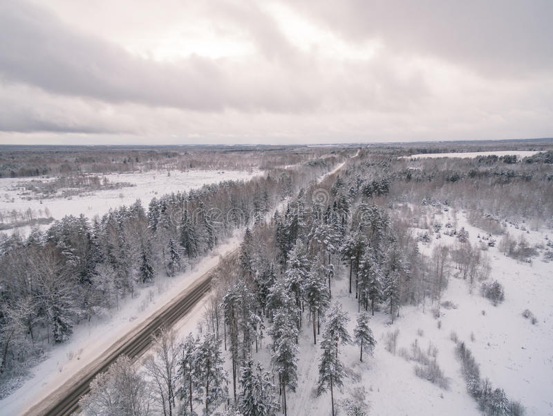 Winter road. Russia, near Moscow stock photo