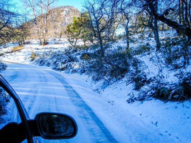 Winter road in San Martin de los Andes, Patagonia Argentina royalty free stock image