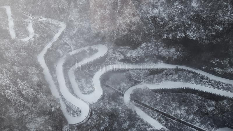 Winter, the road of Tianmen Mountain in Zhangjiajie, Hunan, curved road, mountain road stock images
