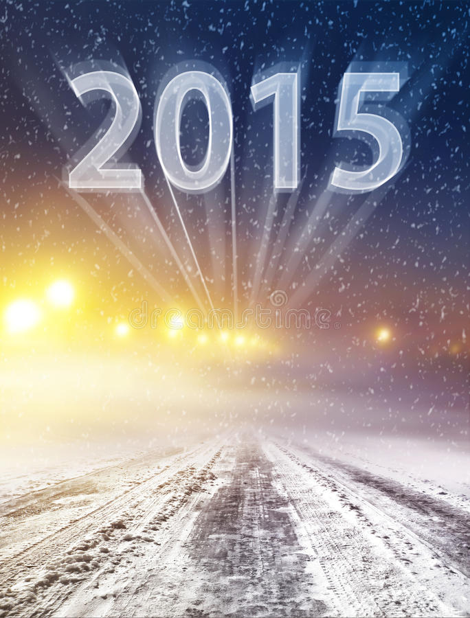 Free Winter Road To 2015 Stock Photography - 45915012