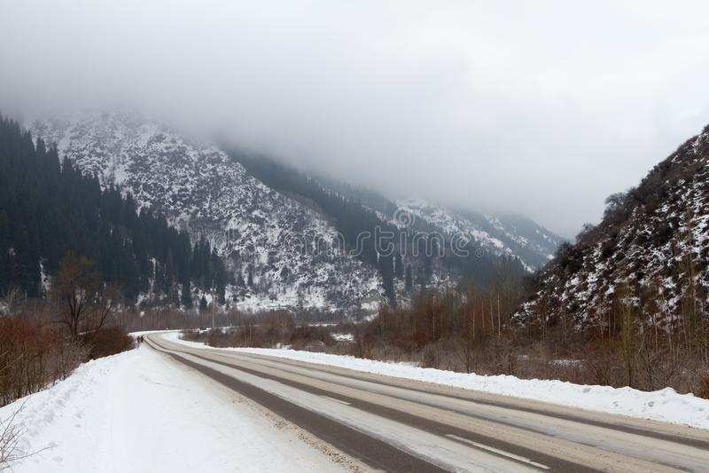 Winter road to the big Almaty lake royalty free stock photos