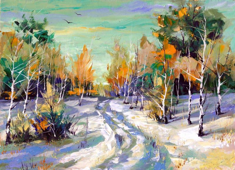 Winter road to wood stock illustration