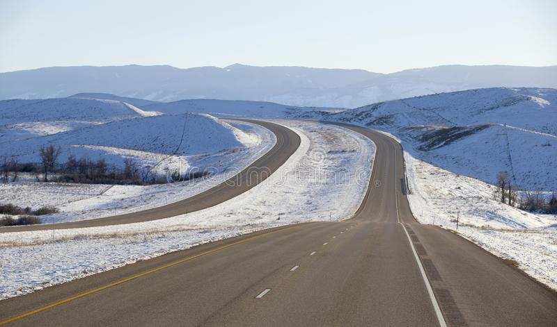 Winter roads in Montana stock images