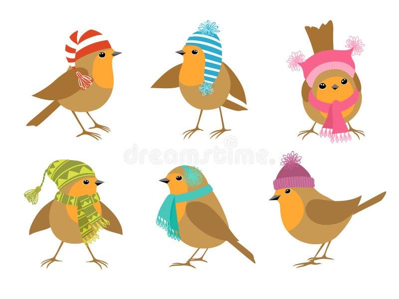 Winter Robins royalty free illustration