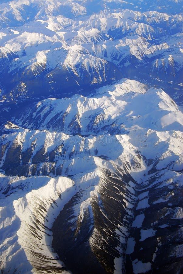 Winter rocky mountains. Bird view of canadian rocky mountains in winter, alberta, canada royalty free stock photos