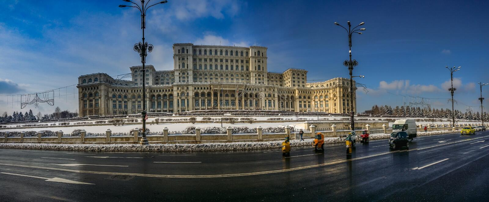 Winter at romanian parliament royalty free stock images