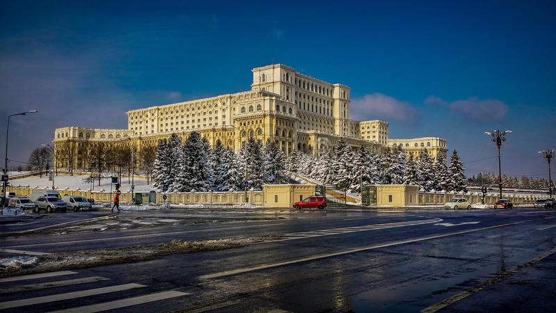Winter at romanian parliament stock photography