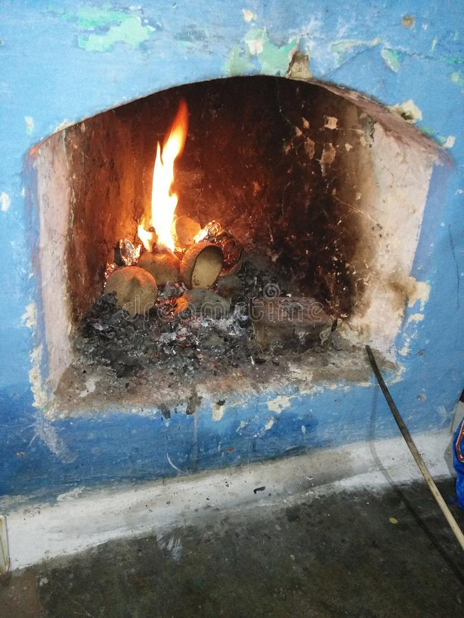 Winter room fire royalty free stock photography