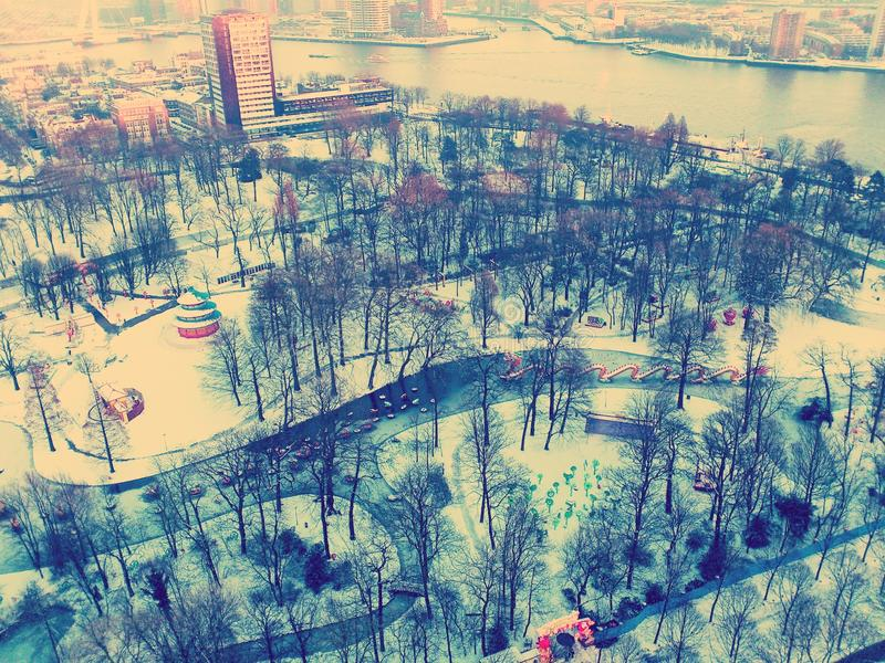 Winter in Rotterdam. High view royalty free stock photos