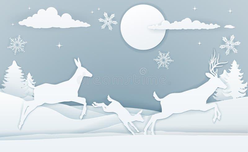 Winter-Rotwild-Szenen-Papier-Kunst lizenzfreie abbildung