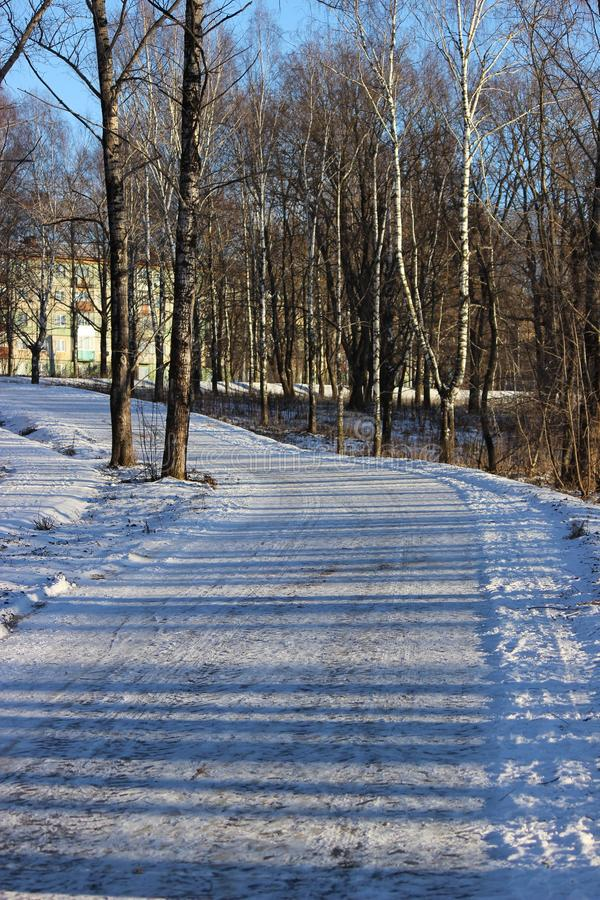 Winter running track in the park stock images