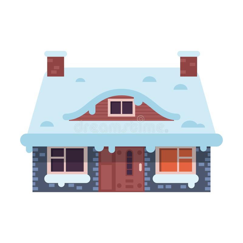 Winter Rural House with Chimney stock illustration
