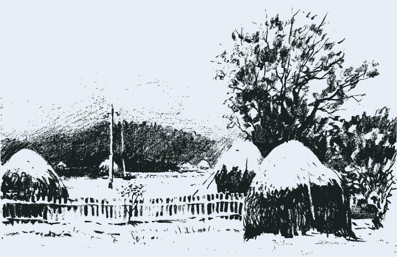 Winter rural landscape vector illustration