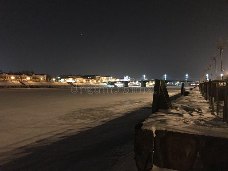 Winter in Russia, river Volga royalty free stock photo