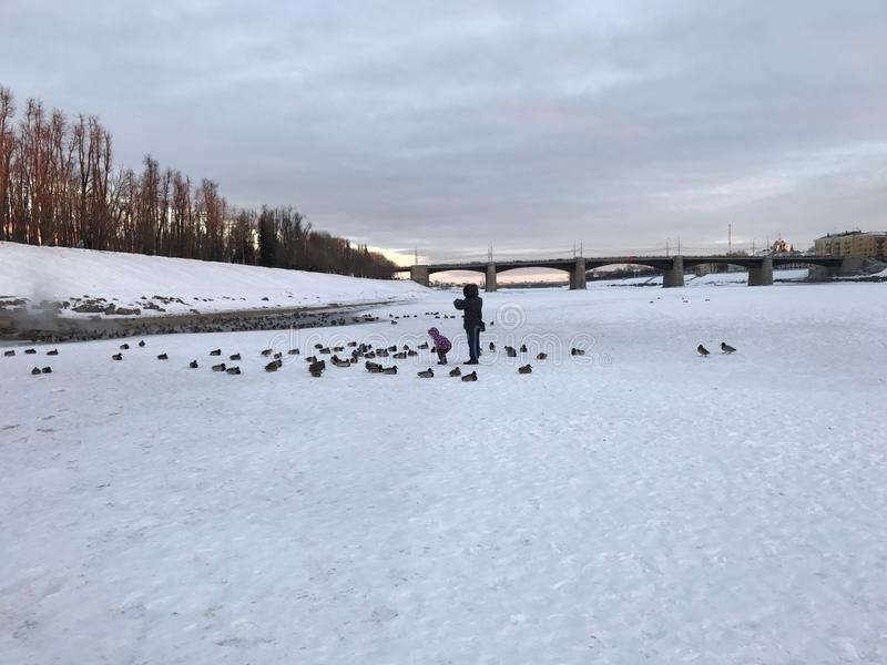Winter in Russia, river Volga in Tver. royalty free stock images