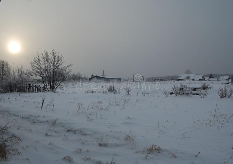 Winter in the Russian countryside royalty free stock photography