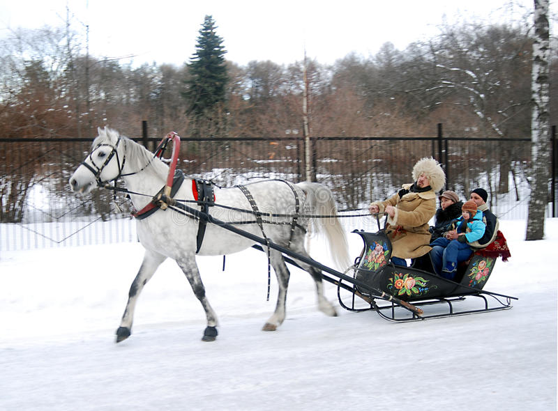 Winter Russian fun, sleigh pulled by horse stock photos