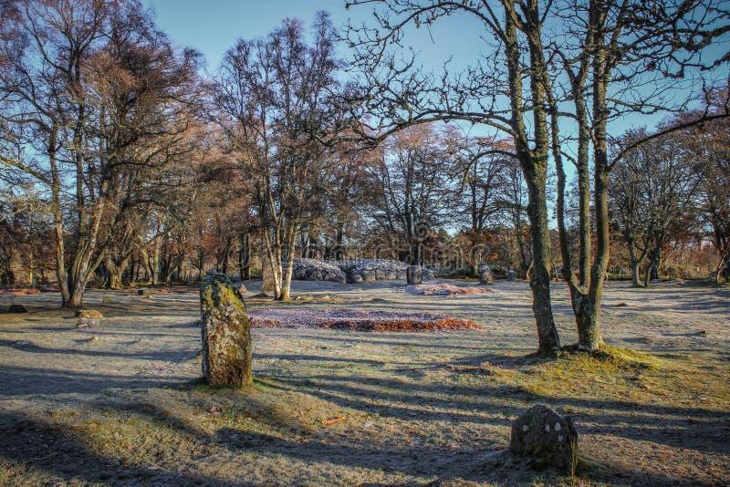 Winter ` s Ansicht von Clava-Steinhaufen stockfotos