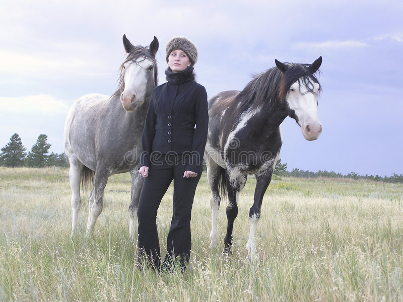 Download Winter's Child 01 stock photo. Image of horses, blond, love - 228484