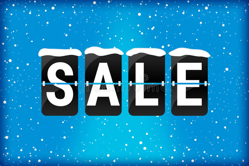 Winter sale analog flip text blue. Winter sale analog flip text with snow flakes on a blue background stock illustration