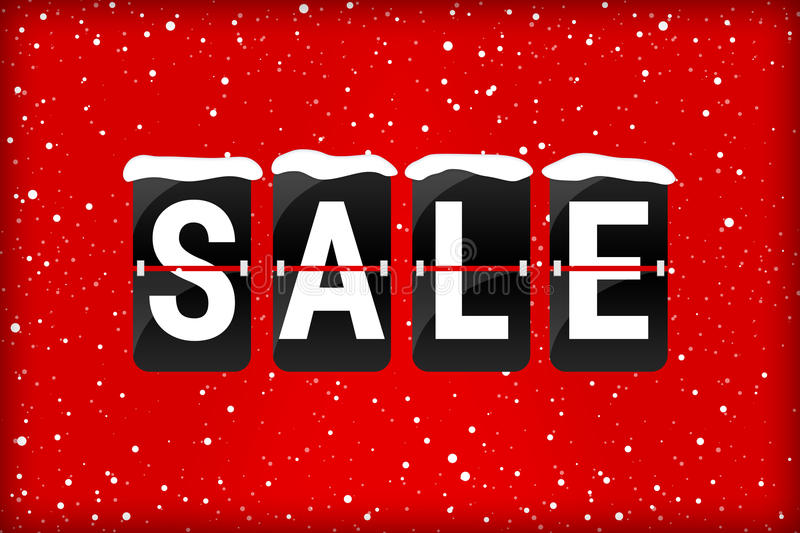 Winter sale analog flip text red. Winter sale analog flip text with snow flakes on a red background stock illustration