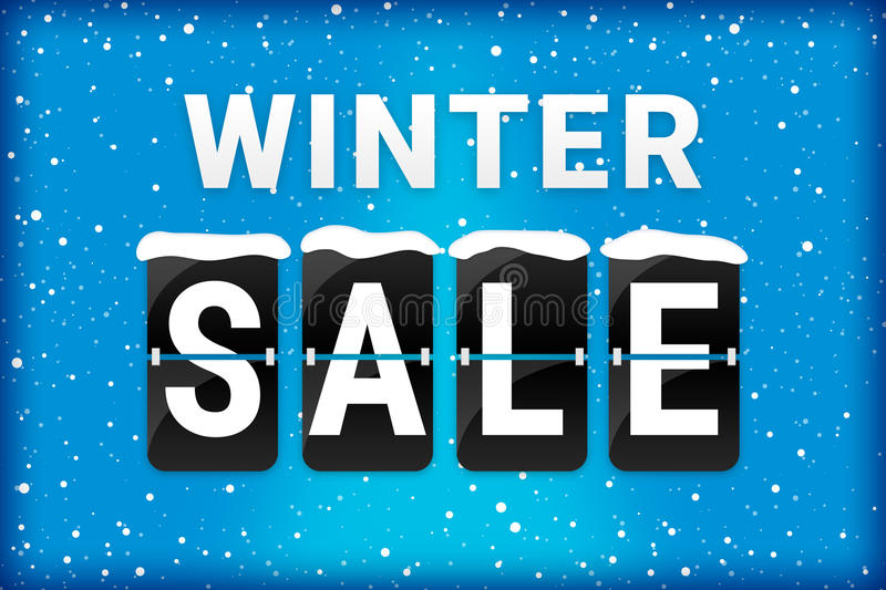 Winter sale analog flipping text blue. Winter sale analog flip text with snow flakes on a blue background and snow on the flipping letters vector illustration
